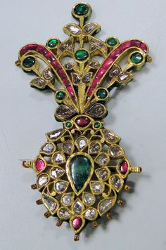 Antique Turban Pin Encrusted With Old Mine-Cut Diamonds, Rubies And Emeralds, Mounted In 20k Solid Yellow Gold, From The House Of Maharaja Of Rajasthan    c. 1900-1909