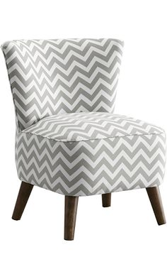 Skyline Furniture Mid Century Modern Chair in Zig Zag Grey and White Best Price