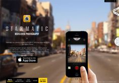 Example of mobile app website design: Starmatic Website Design Inspiration, Landing Page Inspiration, Retro Camera App, App Landing Page, Toy Camera, Dashcam, App Development, Mobile App, Beautiful