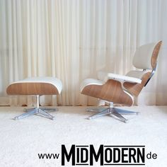 "Eames Lounge Chair & Ottoman, WHITE VERSION - Walnut / Leather in ""snow"", produced by Vitra in 2005"