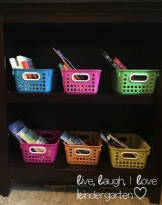 Storage in the classroom!  Love these bright colors!