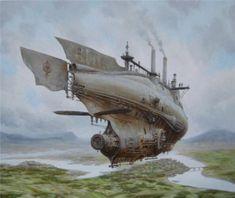 Летучий корабль. Стимпанк в картинах Вадима Войтеховича (Vadim Voitekhovitch).