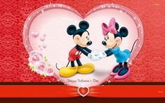 Wallpaper Happy Valentine's Day (Mickey Mouse and Minnie) - Photo Wallpaper desktop Happy Valentine Day Quotes, Disney Valentines, Valentine Images, Valentines Day Pictures, Valentines Day Funny, Valentines Day Greetings, Mickey Mouse Wallpaper, Disney Wallpaper, Cartoon Wallpaper