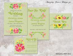 Wedding suite INSTANT DOWNLOAD   Editable Templates   Pink Green Wedding Invite, rsvp, save the date, invite   Bold Pink Collection   PDF by AmazingGraceDesignZA on Etsy Pink Green Wedding, Pink And Green, Printable Invitations, Wedding Invitations, Printables, Christine Jones, Wedding Suite, Eternal Love, Amazing Grace