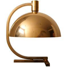 Important Gilt Brass Table Lamp by Franco Albini, Franca Helg, Antonio Piva - Italy, AM/AS model. Hanging half sphere shade to the structure. Franco Albini designed furniture and lights.