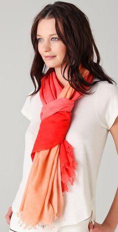Madewell tangerine ombré scarf