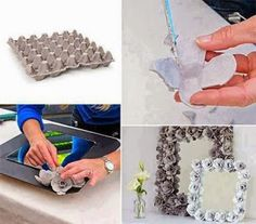 one more Egg Carton Rose idea Diy Home Crafts, Handmade Crafts, Decor Crafts, Fun Crafts, Arts And Crafts, Recycled Crafts, Frame Crafts, Recycled Materials, Craft Frames