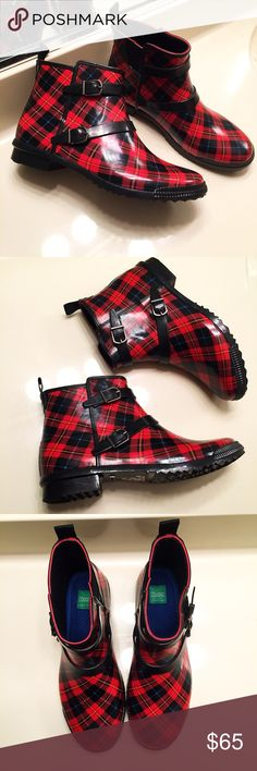 NWOT red and black plaid rubber rain boots New without tags. Red and black plaid rubber rain boots by Cougar. Women's size 8. Hand crafted rubber booties with double buckle design Shoes Winter & Rain Boots