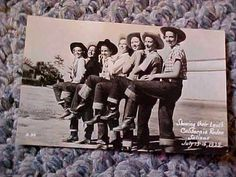 1930s Postcard Cowgirls Modeling Levis Jeans California Rodeo Salinas