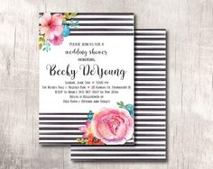 Bridal or Baby Shower Invitation  Black White and by BethKruseCC