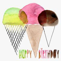Margaret Berg Art: Ice+Cream+Cones+Trio+Birthday+Card+