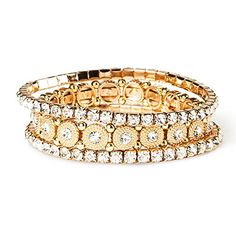 Claire's Accessories Girls Gold  Silver Crystal Stretch Bracelets >>> Want to know more, click on the image.