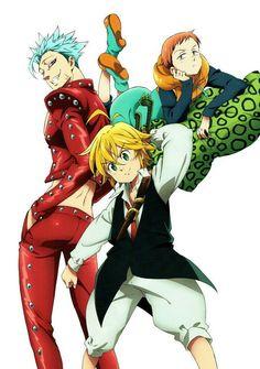 Nanatsu No Taizai (The Seven Deadly Sins) - King, Ban, Meliodas Seven Deadly Sins Anime, 7 Deadly Sins, Otaku Anime, Anime Guys, Manga Anime, Anime Art, Killua, 7 Sins, Seven Deady Sins