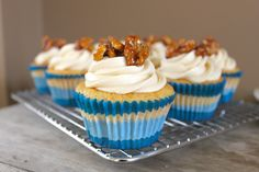 Vanilla Cupcakes with Maple Frosting and Candied Walnuts | The Little Epicurean