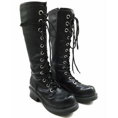 "90's Style Black Goth Lace Up Combat Boots Kick ass boots. Knee high black vegan leather. Pre-loved condition but hardly used (see pics). One of the boot laces is not the original lace and is longer/had to be wrapped around and is frayed (see pics). Considered in asking price. Laces are easy to replace though. Size 10 that my friend gave me but it's not my size (I'm a 7/8). Silver large eyelets. Side zip. Not true vintage. Tagged for its vintage style. Brand is Naona. Platform is 2"" • Goth •…"