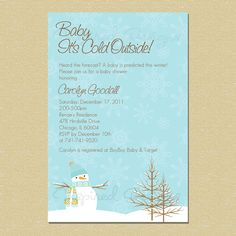 Baby It's Cold Outside...Winter Wonderland Baby Shower Invitation