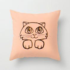 Cute Peeking Kitty Cat Throw Pillow