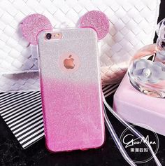 3D Minnie Mickey Mouse Ears Silicone Glitter Gradient Case for iPhone 4 4S 5 5S 6 6S 7 Plus #Iphone4Cases