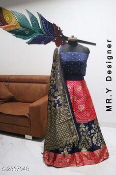 Lehengas Elegant Women's Lehenga Fabric: Lehenga - Jacquard Choli - Taffeta Silk Dupatta - Banarasi Silk  Size: Lehenga (Waist Size) - Up To 36 in Choli - 0.80 Mtr Dupatta - 2.2 Mtr  Length: Lehenga - Up To 40 in Flair: Lehenga - 2.8 Mtr Type: Lehenga - Semi - Stitched Choli - Un - Stitched Description: It Has 1 Piece Of Lehenga 1 Piece Of Choli & 1 Piece Of Dupatta Work: Lehenga - Jacquard Work Choli - Printed Dupatta - Jacquard Work Country of Origin: India Sizes Available: Un Stitched, Free Size, Semi Stitched   Catalog Rating: ★4.4 (519)  Catalog Name: Hiba Elegant Women's Lehengas Vol 13 CatalogID_389506 C74-SC1005 Code: 818-2867048-0612