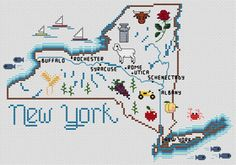 Sue Hillis New York Map - Cross Stitch Pattern. Model to be stitched on your choice of fabric using DMC floss. Stitch count 146 x 94.