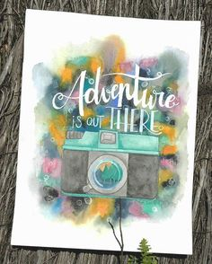 'adventure is out there' amb aquarel.les by @albaslak  #watercolor #lettering #illustration