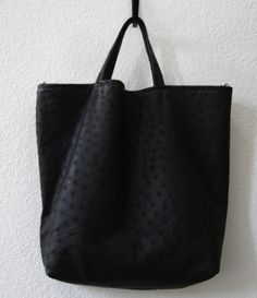 Large Black GENUINE Ostrich leather Tote Bag - Spectacular.  435.00 07752e4c567b3