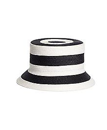 0e12b867b85 Brooks Brothers Women s Black and White Straw Bucket Hat Clothes For Sale
