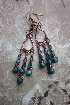 Malachite and Copper Chandelier Earrings