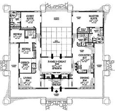 Image result for home plans with courtyard in center toward backyard