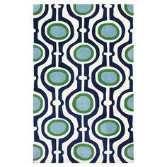 Geometric blue, cream, and green rug