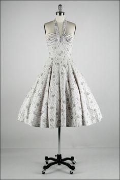 Vintage 1950s Dress  Black  White  Halter  by millstreetvintage, $185.00