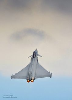 A Royal Air Force Typhoon performing an air display at RAF Coningsby.