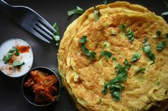 Ingredients • 1.5 cups water • 1 cup chickpea flour • 1 tsp each salt and chilli • 1 tsp each ground cumin and coriander (optional) • 1/4 tsp each ajowan seed and turmeric (optional) • ~1tsp each...