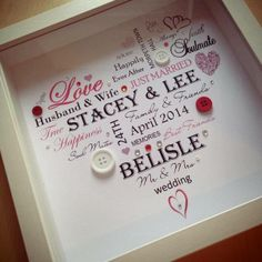 Heart Wedding Box Frame Picture (personalised with your words) email… Box Frame Art, White Box Frame, Diy Frame, Box Frames, Wedding Boxes, Wedding Frames, Picture Boxes, Picture Frames, Diy Wedding Gifts