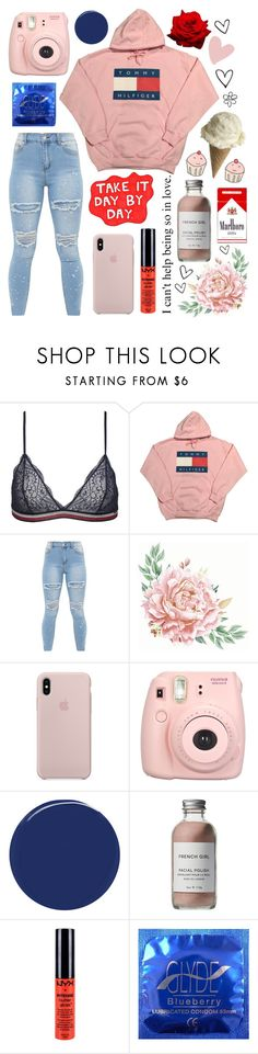 """""""Random #445"""" by maddiexexo ❤ liked on Polyvore featuring Tommy Hilfiger, Pink Vanilla, Fujifilm, RGB Cosmetics, French Girl and NYX"""