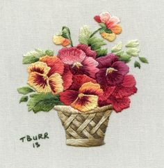 FRENCH TRANSLATION Kit Autumn Pansy Basket by TRISHBURREMBROIDERY, $17.95