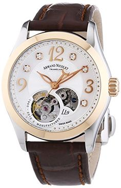 Armand Nicolet Women's Automatic Watch with White Dial Analogue Display and Brown Leather Strap 8653A-AN-P953MR8