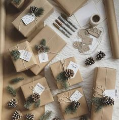 Kraft paper Christmas wrapping with DIY pine cones and tags.