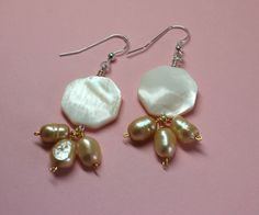 Mother of Pearl and Freshwater Pearl Earrings Dangle Pearl Earrings Cluster Pearl Earrings. #Pearldangles