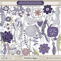 Mod Flower ClipArt  Purple & Yellow Digital Art - Clip Art for Personal and Commercial (Small Business) Use.