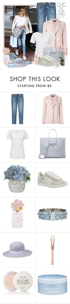 """""""Adidas Gazelle Sneakers"""" by dgia ❤ liked on Polyvore featuring Whiteley, AG Adriano Goldschmied, Theory, Cotton Citizen, Balenciaga, adidas, Marc Jacobs, Henri Bendel, Fresh and Aveda"""
