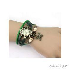Leder Armbanduhr Schmetterling VINTAGE grün  im...