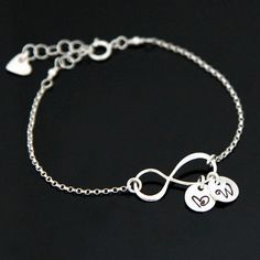 Personalized INFINITY Bracelet, Infinity Initial Bracelet, Love Bracelet, Mom and Kids Bracelet, Adjustable Infinity Bracelet. Kids Bracelets, Initial Bracelet, Personalized Charms, Infinity, Initials, Charmed, Sterling Silver, Gifts, Etsy