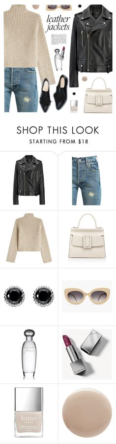 """Cool-Girl Style: Leather Jackets"" by tamara-p ❤ liked on Polyvore featuring Joseph, Levi's, Rosetta Getty, Boyy, Thomas Sabo, Estée Lauder, Burberry, Oribe and leatherjackets"