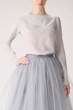 Grey silk blouse MADE TO ORDER. The blouse is made of 100% matte silk (crepe). It is simply elegant. Perfect match with tulle skirt! You can pick