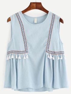 To find out about the Blue Embroidered Tape Detail Tassel Trim Top at SHEIN, part of our latest Tank Tops & Camis ready to shop online today! Stylish Dresses For Girls, Dresses Kids Girl, Casual Dresses, Girls Fashion Clothes, Kids Fashion, Fashion Outfits, Clothes For Women, Pakistani Fashion Casual, Pakistani Dress Design