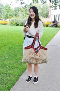 Upcycled Burlap & Cotton Large Hobo Bag with by UpcycleEthiopia, $38.00