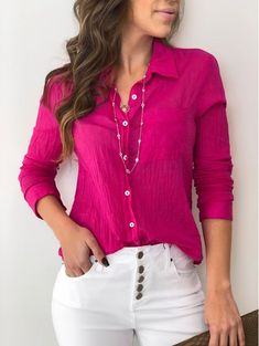 Camisa ml sabrina pink haut блузки и украшения Work Casual, Casual Chic, Casual Looks, White Fashion, Look Fashion, Fashion Outfits, Classy Outfits, Casual Outfits, Cute Outfits
