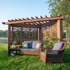 Backyard Seating, Backyard Patio Designs, Outdoor Pergola, Backyard Pergola, Pergola Shade, Corner Pergola, Pergola Ideas, Diy Backyard Projects, Backyard Shade