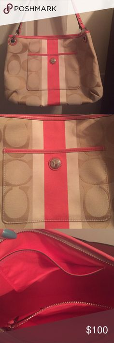 Sale ends 9/6! Genuine Coach Coral/Tan handbag Outer pocket on front for cell phone or keys. Inside is roomy with 1 zipper pocket & another pocket. Metal rings & hardware is silver. Very faint marks on back can barely notice. Coach Bags Shoulder Bags